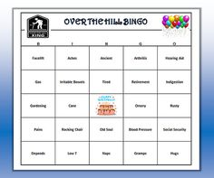 Over the Hill Birthday Party BINGO game. Very funny age themed BINGO words. Easy to play.