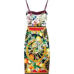 Dolce & Gabbana Printed silk-satin dress (2.155 BRL) ❤ liked on Polyvore featuring dresses, vestidos, women, ruching dress, sweet heart dress, spaghetti strap cocktail dress, spaghetti strap dress and corset style dress