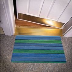 WOOD GREEN BLUE BEDROOM CARPET BATH OR DOORMATS