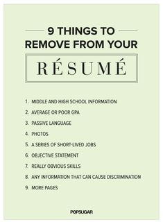 9 Things to Remove From Your #Résumé Right Now #careers