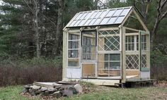 Upcycled windows and doors greenhouse