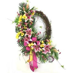 In this video, spray paint a birch wreath in a bright spring color. Then hot glue silk flowers onto a monogram. There you have it, a simple spring wreath with initial Spring Door Wreaths, Deco Mesh Wreaths, Summer Wreath, Wreaths For Front Door, Front Porch, Tulip Wreath, Floral Wreath, Flower Wreaths, Diy Sliding Door