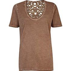 Brown washed lace insert low scoop t-shirt - plain t-shirts / vests - t shirts / vests / sweats - women