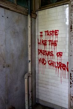 """""""I taste like the dreams of mad children"""" sprayed onto a wall in the abandoned Clairvaux Tuberculosis Hospital"""
