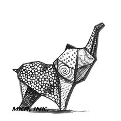 Origami Elephant 85X11 digital print of a pen and ink by MKRInk, $12.00