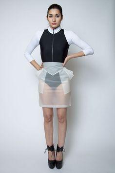 SUBLIMINAL SKIRT - Clear Rubber - Pencil - Geometric - Futuristic - PVC - Vinyl - Cyber - Techno - Space Age - Transparent Plastic - Pockets