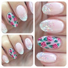 Glitter round nails with flower nail art
