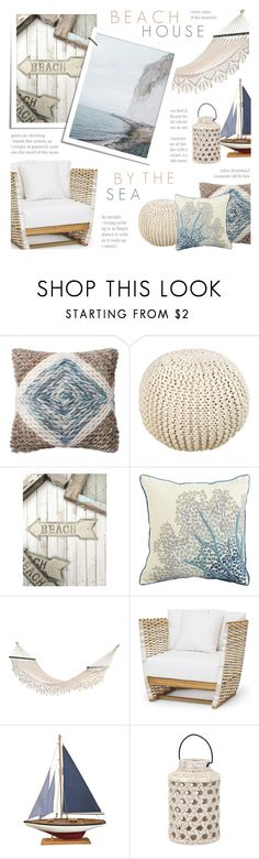 """Beach House"" by c-silla ❤ liked on Polyvore featuring interior, interiors, interior design, home, home decor, interior decorating, Loloi Rugs, Surya, Pier 1 Imports and DAY Birger et Mikkelsen"