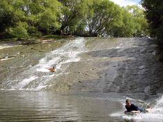 The natural water slide at Rēre, 47 km west of Gisborne on Wharekopae Road, New Zealand #natural #water #slide