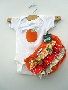 Etsy - Onesie Girl - Baby Citrus Summer - Ruffle diaper covers gift set.