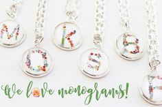 Spring has sprung! Grab this beautiful silver personalized necklace, choose one of the hottest new spring floral letters and show off your initial!