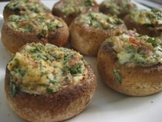 Herb Stuffed Mushrooms - replace 4T of breadcrumbs with almond flour.  :-)