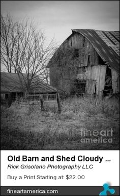 An Old Barn and Shed on a cloudy Winter afternoon