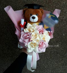 Teddy Blossom Bouquet  Thank you for order dear  . . Chat for more info and order: Line: @fku9896e WA: 082238308255 . . #paperflower #paperflowerbandung #snackbuket #bungakertas #graduation #explorebandung #wisuda #buketkarakter #characterbouquet #spongebob #weddingbouquet #UPI #Baymax #Cinderella #SnowWhite #pikachu #keroppi #pokemon #unisba #unikom #spongebob #starwars #stormtrooper #avengers #winniethepooh #shinchan #minion #anchor #mariobros #cookiemonster #jagojualan