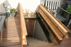 Hidden door in deck to basement stairs I want this for our sloped front yard. Hidden door in de Basement Entrance, Basement House, Basement Stairs, Basement Ideas, Attic Stairs, Porch Stairs, Exterior Stairs, House Stairs, Bulkhead Doors