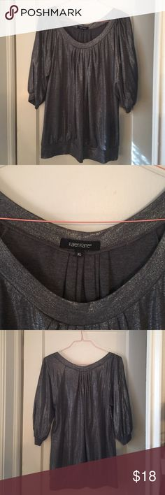 Karen Kane XL gray shimmery top Shimmery gray. Perfect for the holidays!  Polyester, rayon & spandex. Hand wash & lay flat to dry. Very gently used. Only worn a couple of times. Smoke free home. Karen Kane Tops Blouses