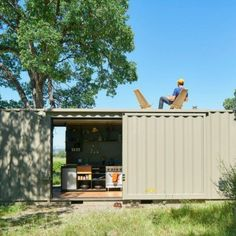 OFF THE GRID SHIPPING CONTAINER CABIN Shipping container homes can be elaborate and complex, but sometimes bringing it back to basics is the key to good living. Shipping Container Cabin, Container Homes For Sale, Building A Container Home, Container Buildings, Container Architecture, Container House Design, Sustainable Architecture, Contemporary Architecture, Container Houses