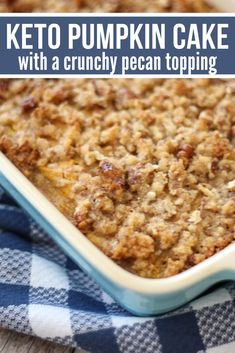 This scrumptious low carb Keto Pumpkin Cake is absolutely amazing with a crunchy pecan streusel topping. You'll love how easy it is to make even if you aren't an experienced baker. Low Carb Sweets, Low Carb Desserts, Low Carb Recipes, Dessert Recipes, Vegetarian Recipes, Dinner Recipes, Keto Cake, Keto Foods, Low Carb Pumpkin Pie