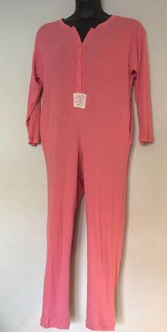 Vtg Victorias Secret Thermal Long Jane Medium One Piece Pajamas Pink Cotton   VictoriasSecret  Onesie 7addbac64