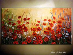 "Abstract Wildflower.Original Contemporary Wildflower Painting.Palette Knife.Impasto.Poppies,Daisy Painting,Wildflower 48"" x 24"" - by Nata S."