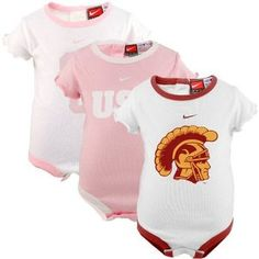 Nike USC Trojans Infant Pink-White 3-Pack Creeper Set, Onesie 3 Pack! So Cute for Baby! $29.98