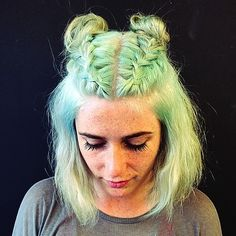 Mint green hair and braids Cool Braids, Rainbow Hair, Green Hair, Hair Day, Pretty Hairstyles, Grunge Hairstyles, Gorgeous Hair, Hair Looks, Dyed Hair