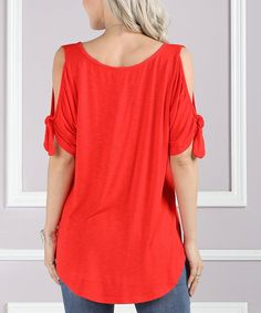 Suzanne Betro Red Knot-Sleeve Cold-Shoulder Top - Plus Too Easter Outfit, Knot, Cold Shoulder, V Neck, Red, Sleeves, Outfits, Tops, Women