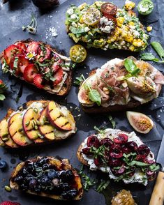Summer Crostini 6 Ways! Yes, yes, YES. Six fun ways to eat all the things on toast. Hello to carbs, cheese (buratta, goat, BRIE, ext.), summer fruit and prosciutto. Recipes are on @halfbakedharvest right now and they are screaming make me for the 4th of July. Duh.  #howisummer