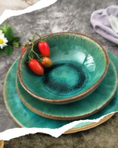 Farmhouse Pottery Blue or Green Dish Set, Handmade Ceramic Dinnerware Set of Plates and Bowls for Modern Rustic Decor - Made with Gray Clay Shop today 👍 Plates And Bowls, Farmhouse Pottery, Blue Dishes, Modern Rustic Decor, Everyday Dishes, Blue Pottery, Dish Sets, Dinnerware Sets