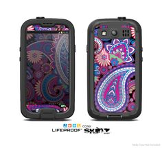 The Vibrant Purple Paisley V5 Skin For The Samsung Galaxy S3 LifeProof Case from Design Skinz, INC.
