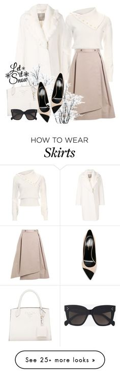 """""""Winter White"""" by elly-852 on Polyvore featuring Ermanno Scervino, Adeam, Jil Sander Navy, CÉLINE, Yves Saint Laurent, Winter, outfit and white #womenclotheswinter"""
