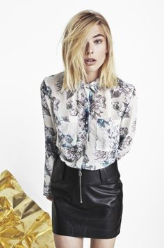 ANIMAL NITRATE CHIFFON SHIRT IN CREAM FLORAL SPLASH AND LORD KNOWS LAMB LEATHER MINISKIRT IN ANTHRACITE BLACK http://fallwinterspringsummer.com