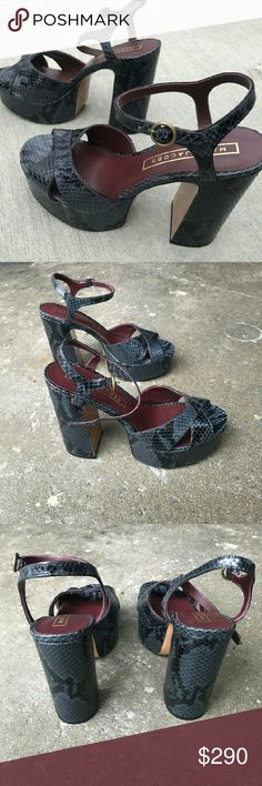 New Marc Jacobs Debbie Platform Sandals size 8 Navy and Black python-stampted calfskin sandals with thick platform and chunky heel. Marc Jacobs Shoes Sandals