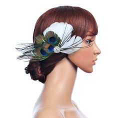 Topwedding Peacock and White Feather Hair Flower with Rhinestone Topwedding,http://www.amazon.com/dp/B00EDJ38IU/ref=cm_sw_r_pi_dp_p.e3sb1E96M6F4RM