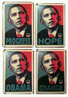 57f56b57ece4 Barack Obama 2008 Election Poster, Lot of 4 Posters, Change Hope Obama  Progress