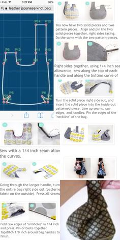 Sewing Projects For Beginners, Sewing Tutorials, Sewing Crafts, Hobo Bag Patterns, Japanese Knot Bag, Japanese Sewing, Bag Pattern Free, Sewing Patterns For Kids, Fabric Bags