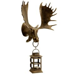 "Moose Wall-Mounted Lantern - bronze finish, lightweight aluminum (indoor/outdoor) - $68.00 Dimensions: 9""w x 8""d x 20""h"