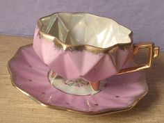 antique pink tea cup and saucer set 1950's Royal by ShoponSherman,