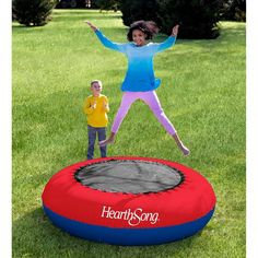 HearthSong Coated PVC Outdoor Inflatable Kids Trampoline with Water Compartments for Stability H x diam. Outdoor Trampoline, Kids Trampoline, Outdoor Toys, Outdoor Play, Indoor Outdoor, Backyard Obstacle Course, Inflatable Bouncers, Flexibility Workout, Gross Motor Skills