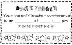 Parent Teacher Conference Reminder Form---Free Printable