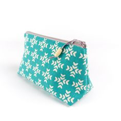 Small Cosmetic Bag in Modern Geometric Teal Linen £15.00