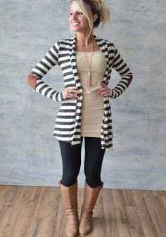 White Striped Print Long Sleeve Slim Fashion Stylish Cardigan Sweater - Cardigans - Sweaters - Tops