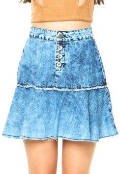Saia Jeans Colcci Sino Azul - Marca Colcci                                                                                                                                                                                 Mais