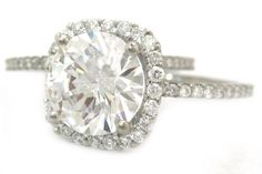 14k white gold round diamond engagement ring and band by KNRINC, $8399.00