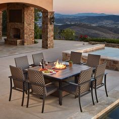 Madrid 9-piece Fire Dining Set by Mission Hills