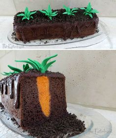 To go with the sprout cupcakes! Pretty Cakes, Cute Cakes, Creative Cakes, Creative Food, Cake Cookies, Cupcake Cakes, Easter Recipes, Dessert Recipes, Crazy Cakes