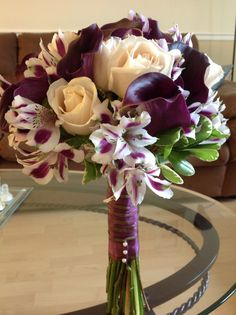 Mock bridal bouquet for S+N wedding Eggplant Purple Calla Lillies, Ivory Vendela Roses - By: Cindy Perez for Perez & Co.