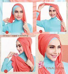 hijab segi empat 2 warna untuk pesta