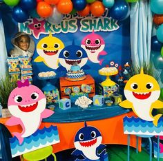 Baby Birthday, Birthday Party Themes, Shark Party, Balloon Bouquet, Backdrops For Parties, Baby Shark, Baby Halloween, First Birthdays, Projects