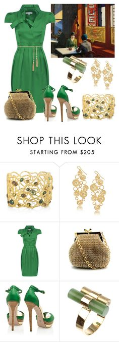 """""""Edward Hopper"""" by ana-cris ❤ liked on Polyvore featuring Alexis Bittar, Isharya, Franchi, Elie Saab, Forever New, art, green, paint, gold and edward hopper"""